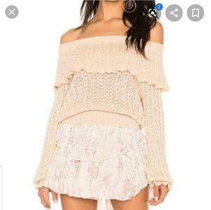 Free People Knit ruffle crochet sweater S